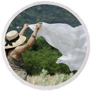 Woman With A White Sheet Round Beach Towel