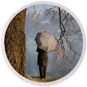 Woman With An Umbrella Round Beach Towel