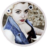 Woman With Curlers Round Beach Towel