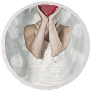 Woman With Heart Round Beach Towel
