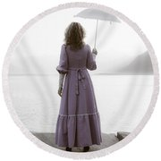 Woman With Parasol Round Beach Towel