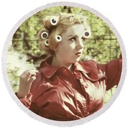 Woman With Rain Coat And Curlers Round Beach Towel by Joana Kruse