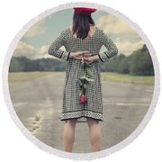 Woman With Red Rose Round Beach Towel