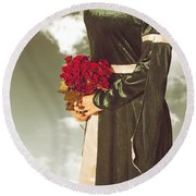 Woman With Roses Round Beach Towel by Joana Kruse