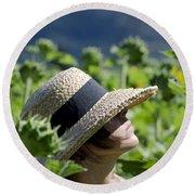 Woman With Straw Hat Round Beach Towel