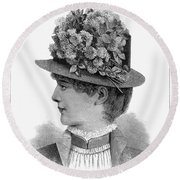 Womans Hat, 1883 Round Beach Towel