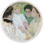 Women Admiring A Child Round Beach Towel by Mary Stevenson Cassatt
