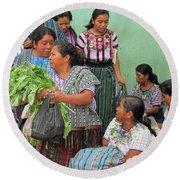 Women At The Chichicastenango Market Round Beach Towel