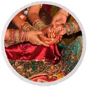 Women With Decorated Hands Holding Hands In A Hindu Religious Ceremony Round Beach Towel