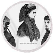 Womens Hats, 1868 Round Beach Towel