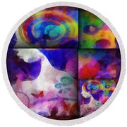 Wondering 1 Round Beach Towel by Angelina Vick