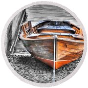 Wood Boat Round Beach Towel