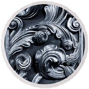 Wood carving patterns round beach towel for sale by gaspar avila