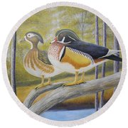 Wood Duck Pair At The Lake Round Beach Towel