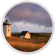 Wood End Lighthouse Landscape Round Beach Towel
