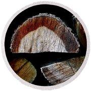 Wood. Piled Up Logs. Round Beach Towel