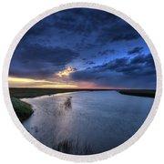 Wood River Saskatchewan Canada Round Beach Towel
