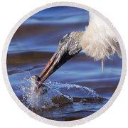 Wood Stork Fishing Round Beach Towel