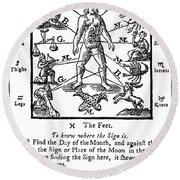 Woodcut, 1750 Round Beach Towel by Science Source