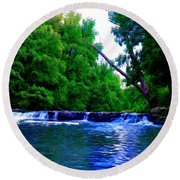 Wooded Waterfall Round Beach Towel by Bill Cannon