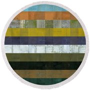 Wooden Abstract L Round Beach Towel