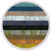 Wooden Abstract Lv Round Beach Towel