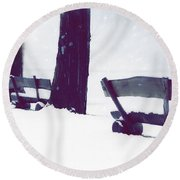 Wooden Benches In Snow Round Beach Towel