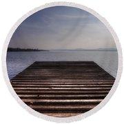 Wooden Bridge Round Beach Towel by Joana Kruse