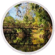 Wooden Bridge Over The Hillsborough River Round Beach Towel