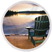 Wooden Chair At Sunset On Beach Round Beach Towel