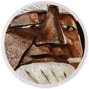 Wooden Head With Cigarette Round Beach Towel