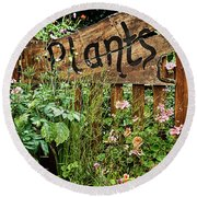 Wooden Plant Sign In Flowers Round Beach Towel