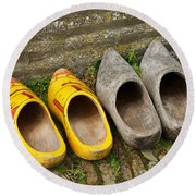 Wooden Shoes Round Beach Towel
