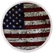 Wooden Textured Usa Flag2 Round Beach Towel