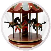 Wooden Toy Carousel Round Beach Towel