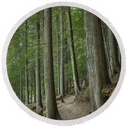 Woodland Forest Path Round Beach Towel