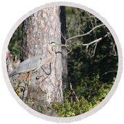 Woodland Great Blue Heron Round Beach Towel