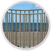 Woodlawn Beach State Park Through Playground Equipment  Round Beach Towel