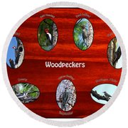 Woodpeckers Round Beach Towel