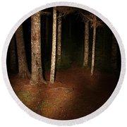 Woods At Night Round Beach Towel