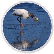 Woodstork Catches Fish Round Beach Towel