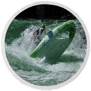 Working The Rapids Round Beach Towel