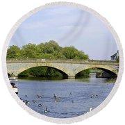 Workman Bridge And The River Avon Round Beach Towel