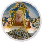 World Heritage Frescoes Of Wieskirche Church In Bavaria Round Beach Towel