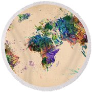 World Map 2 Round Beach Towel