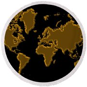 World Map Gold Round Beach Towel