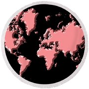 World Map Pink Round Beach Towel