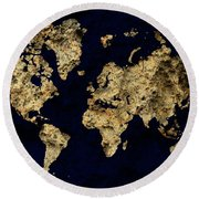 World Map Rock Round Beach Towel