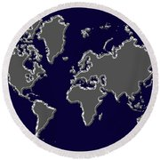 World Map Silver Round Beach Towel
