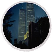 World Trade Center At Dusk Round Beach Towel